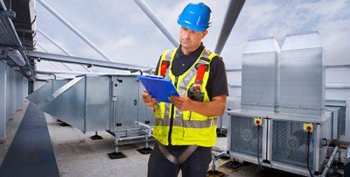 HVAC system installation in large building
