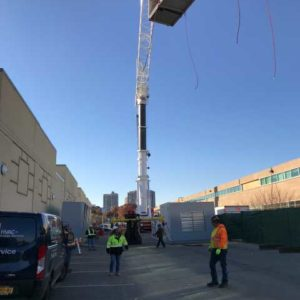 Crane lifting HVAC Equipment for Healthcare facility