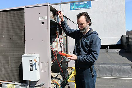 Commercial HVAC Service Contractor Working