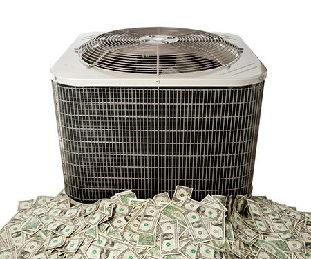 HVAC system with money around it